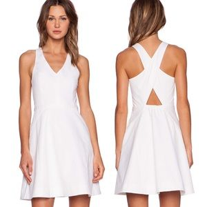joie aurina white cotton fit & flare dress